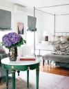غرفة انثوية خرافية , هذا التصميم يذكرنا بغرفة نوم في شقة فرنسية عصرية في باريس.