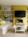 افكار وتصاميم لغرف المعيشة باللون الاصفر المشمس3