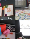 اسود حالم , اراد الوالدين من هيوستن تكساس اثبات انه ليس بالضرورة ان تكون غرفة الرضيع بالالوان الوردية الناعمة او بالوان الباستيل حتى تكون جميلة للطفل .بل بلون الجدار الاسود والاكسسوارات بالوان قوس قزح جعلت الغرفة تبدو دافئة وجميلة.