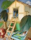 تحفيز مخيلة الطفل عن طريق عمل بيت مثل البيوت في المناطق الاستوائية مرفوع مع سلم يؤدي الى مكان مريح للنوم