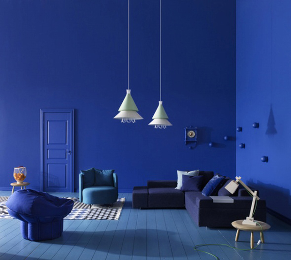 غرف معيشة مثيرة للاهتمام باللون الازرق