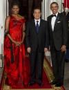ميشيل اوباما في استقبال الرئيس الصيني هو جين تاو على العشاء بثوب من الكسندر ماكوين