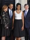 ميشيل أوباما في فستان من الحرير والاسود والساتان الابيض من ايزابيل توليدو بدون سترة
