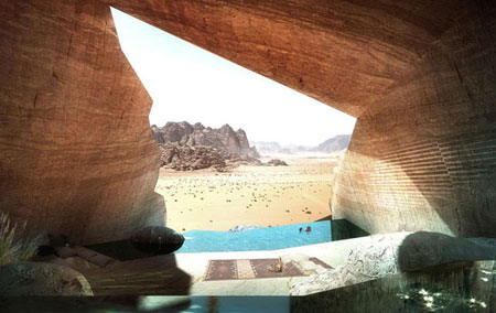 تصميم فندق في الصخر على شكل كهف في وادي رم الاردن 10