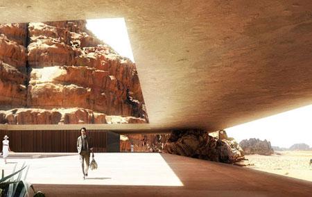 تصميم فندق في الصخر على شكل كهف في وادي رم الاردن 11