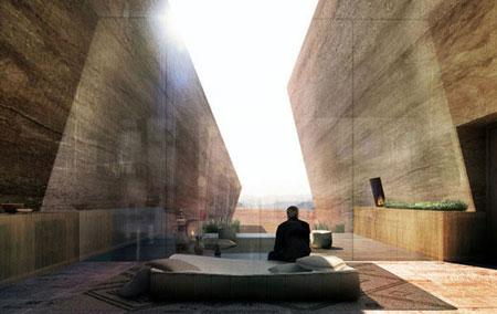 تصميم فندق في الصخر على شكل كهف في وادي رم الاردن2
