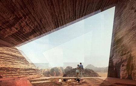 تصميم فندق في الصخر على شكل كهف في وادي رم الاردن3