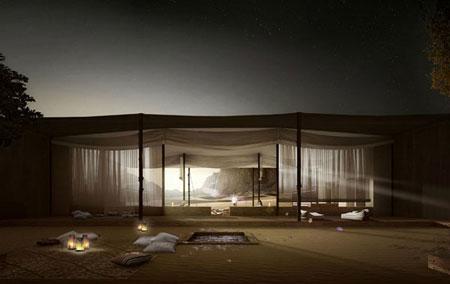 تصميم فندق في الصخر على شكل كهف في وادي رم الاردن 4