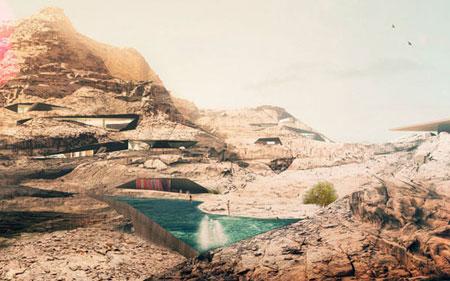 تصميم فندق في الصخر على شكل كهف في وادي رم الاردن 6