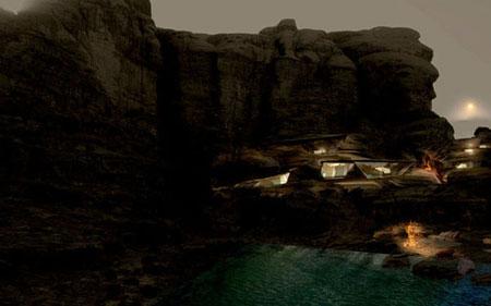 تصميم فندق في الصخر على شكل كهف في وادي رم الاردن 7