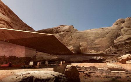 تصميم فندق في الصخر على شكل كهف في وادي رم الاردن 8