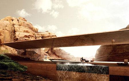 تصميم فندق في الصخر على شكل كهف في وادي رم الاردن 9
