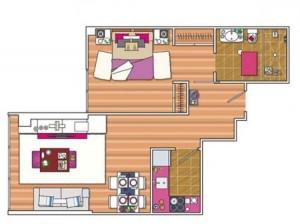 تصميم ديكور كامل لشقة صغيرة باللون الزهري1