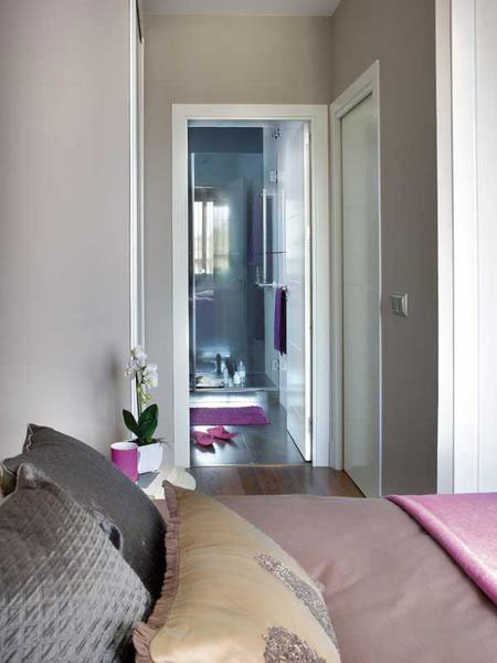 تصميم  ديكور كامل لشقة صغيرة باللون الزهري3