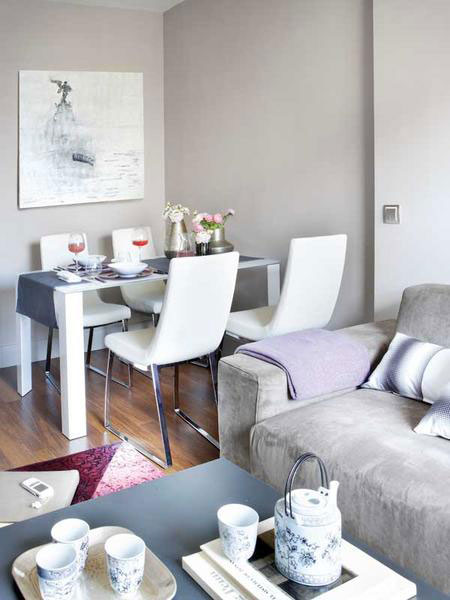تصميم  ديكور كامل لشقة صغيرة باللون الزهري6
