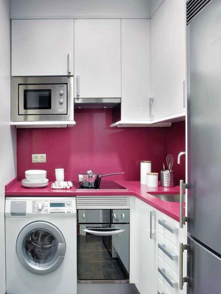 تصميم  ديكور كامل لشقة صغيرة باللون الزهري7