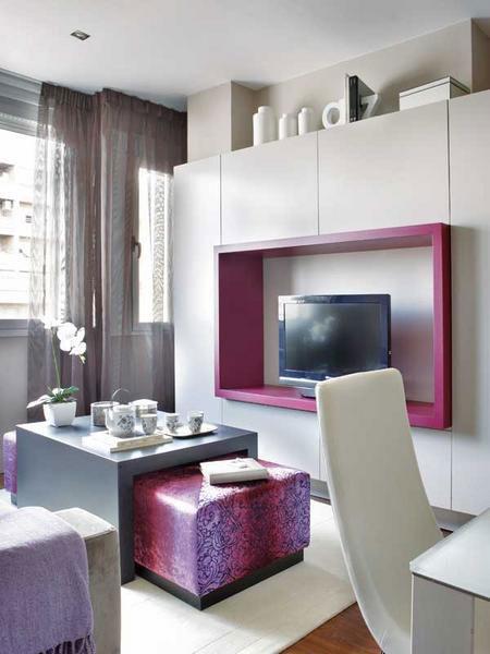 تصميم  ديكور كامل لشقة صغيرة باللون الزهري8