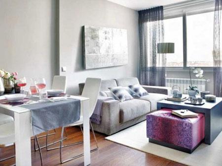 تصميم  ديكور كامل لشقة صغيرة باللون الزهري9