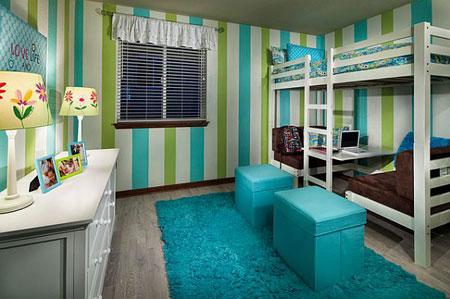 تصاميم غرفة اطفال مشتركة مع سرير علوي لوفت