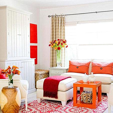 غرفة طعام بلون اليوسفي البرتقالي