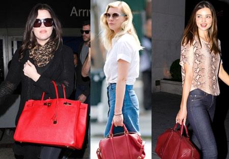 المشاهير في ستريت ستايل -حقائب كتف حمراء
