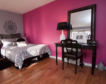 تصاميم غرف نوم لون زهري