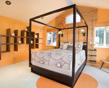 افكار ديكور جدران غرف النوم اللون الغامق2