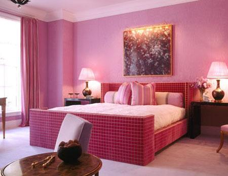 تصاميم غرف نوم لون زهري5
