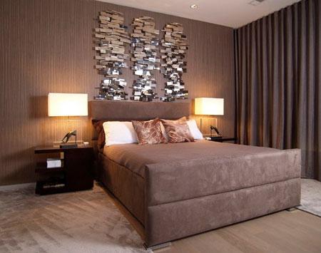 افكار ديكور جدران غرف النوم اللون الغامق