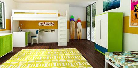 تصاميم غرفة اطفال مع سرير علوي لوفت7
