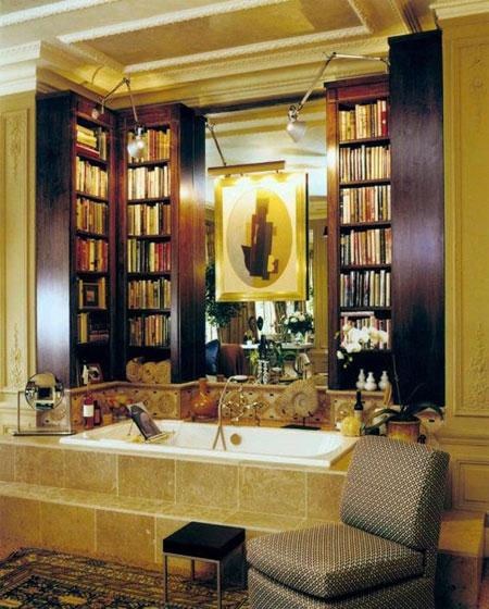 افكار تصاميم مكتبة كتب داخل الحمام4