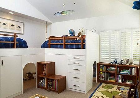 تصاميم غرفة اطفال مع سرير علوي لوفت6