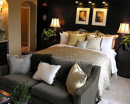 غرف نوم باللون الرمادي الغامق10