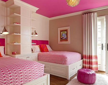 تصاميم غرف نوم لون زهري3