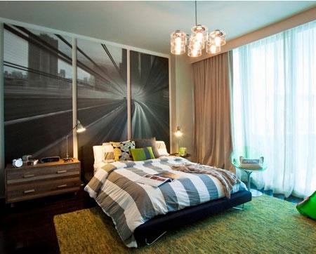 افكار ديكور جدران غرف النوم اللون الغامق3