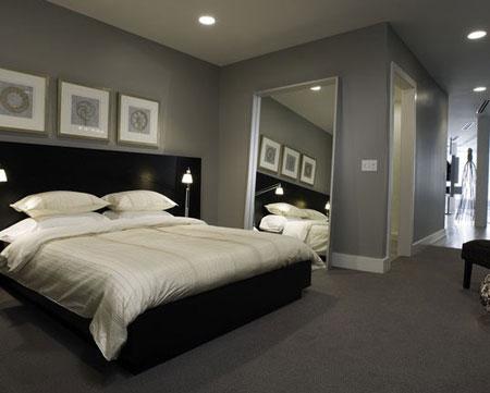 غرف نوم باللون الرمادي الغامق9