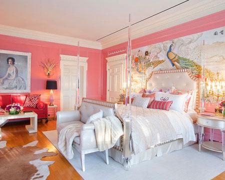 تصاميم غرف نوم لون زهري1