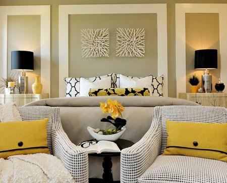 افكار ديكور جدران غرف النوم اللون الفاتح1