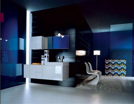 تصميم حمام باللون الازرق الغامق