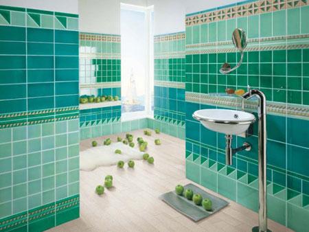 تصميم حمام باللون الازرق بدرجات متعددة للون الازرق