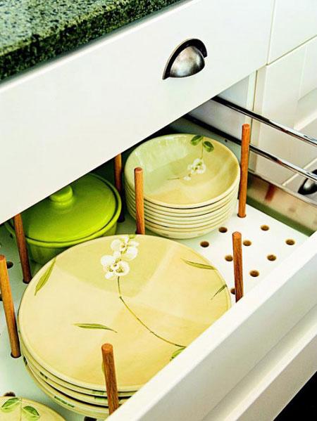 افكار خلاقة لتنظيم الصحون والاطباق في المطبخ