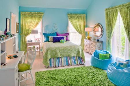 غرف نوم بنات باللون الاخضر والازرق