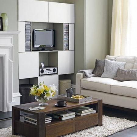 تصاميم ديكورات رفوف  لغرف المعيشة