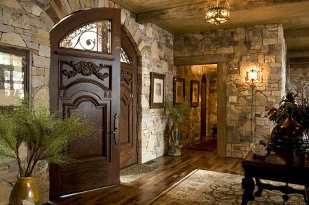 تصاميم ابواب رئيسية خشب مع زجاج باللون البني غامق