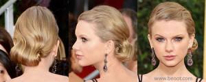 تايلور سويفت,على الرغم من ان تايلور تميل الى فرد شعرها ,الا انها اختارت هذه المرة تسريحة جديدة وهي بجمع شعرها بعقدة الى الاسفل ليتلائم مع فستانها للمصممة دونا كارن