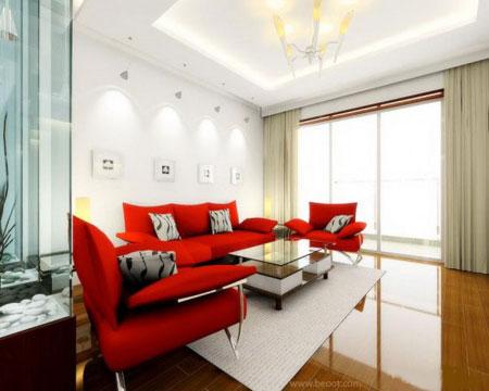 تصاميم غرف معيشة باللونين الاحمر والابيض