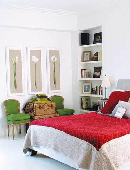 ديكورات لوضع الرفوف في الكوات في غرف النوم الرئيسية