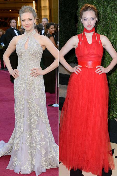 ميراندا سيفريد ارتدت فستان فضي لامع من الكسندر ماكوين ثم في وقت لاحق قامت بارتداء فستان احمر من جيفنشي