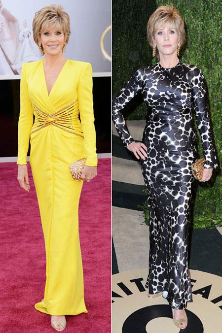 جين فوندا ارتدت ثوب اصفر لامع من فيرساتشي ثم قامت بتغييره بفستان مطبوع من اوسكار فانيتي فير