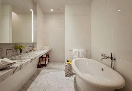 تصميم شقة فاخرة فوق السطح مع اضافة اللون الاحمر